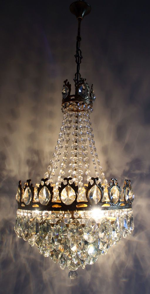 Gold Tone Antique French Basket Style Brass Crystals Chandelier