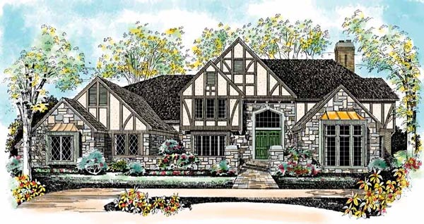 Tudor Style House Plan 95228 With 4 Bed 6 Bath 3 Car Garage Tudor House Exterior Craftsman Style House Plans Tudor Style Homes