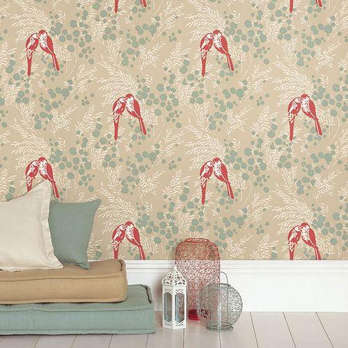 Modern wallpaper Birds + botanical print + duck egg blue