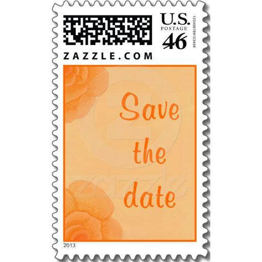 Save the date Stamps, Faded Orange Roses Postage   Zazzle