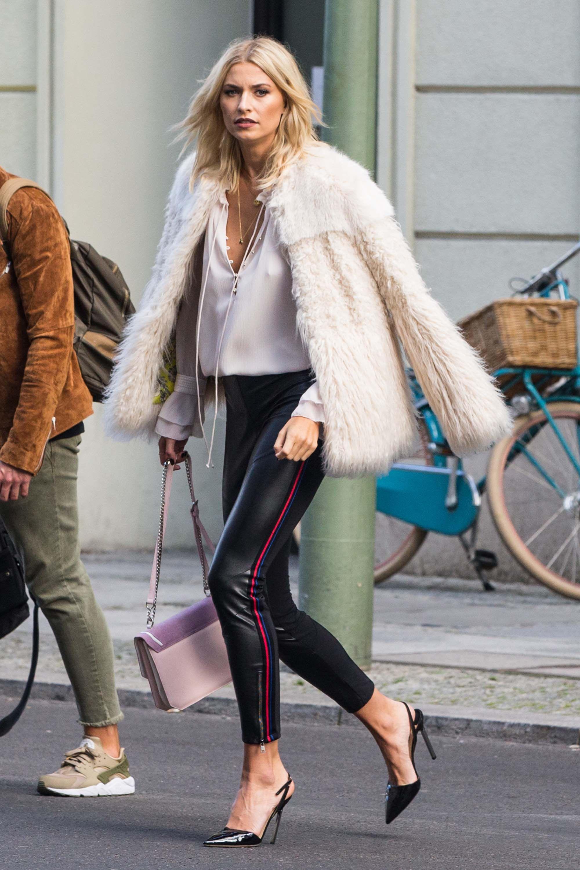Lena Gercke Seen In Berlin Leather Pants Outfit Leggings