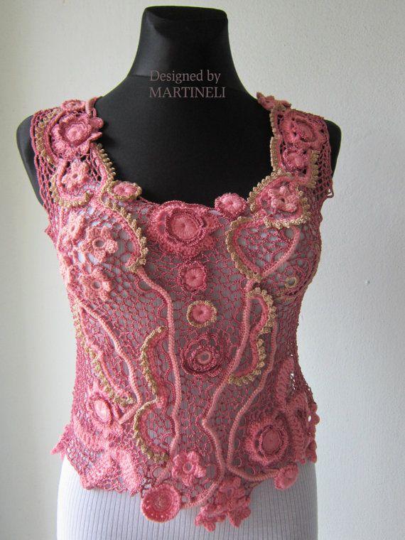Rosa uncinetto irlandese camicetta Freeform Crochet, magl ...
