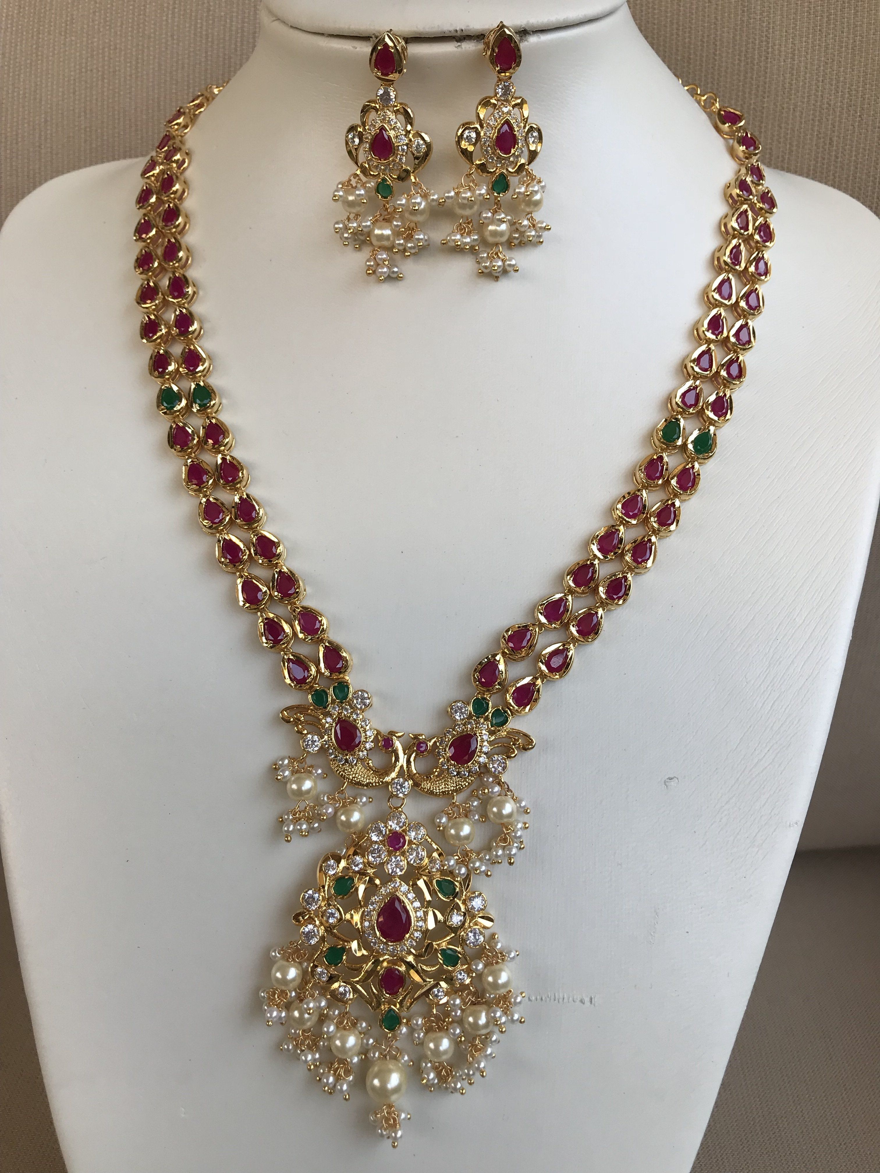 Traditional ruby and emerald stones with pearls necklace set Pearl