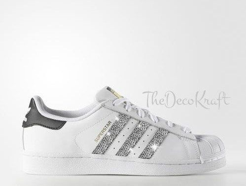 Superstar Adidas Womens Custom Originals Bling WhiteBlack SLMGqUVzp