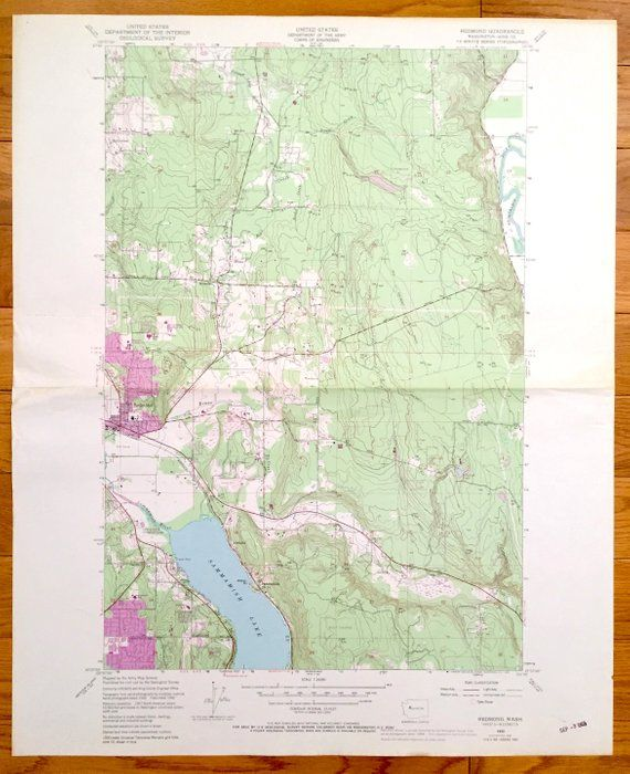 King County Topographic Map.Antique Redmond Washington 1950 Us Geological Survey Topographic