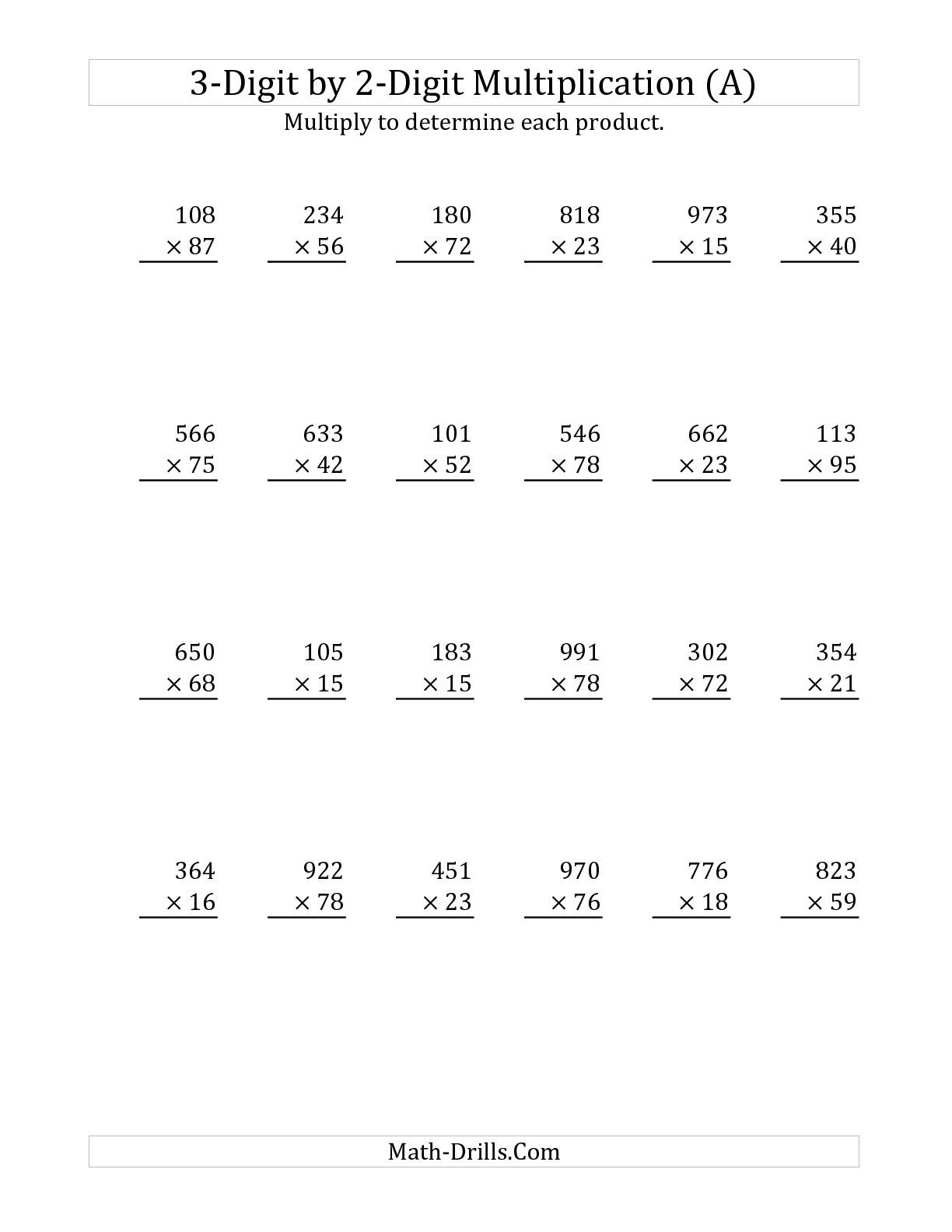 hight resolution of 3-Digit by 2-Digit Multiplication (A) Long Multiplication Worksheet   Multiplication  worksheets
