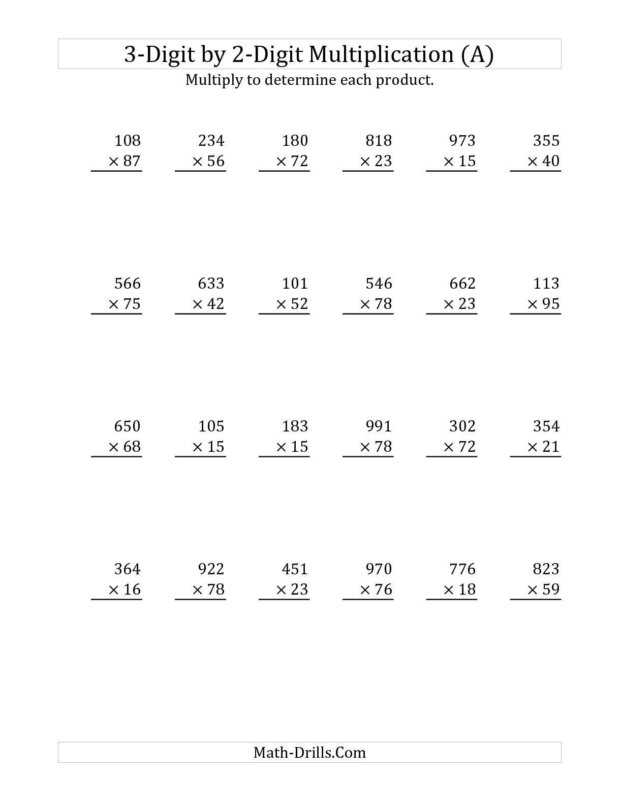 3-Digit by 2-Digit Multiplication (A) Long Multiplication Worksheet   Multiplication  worksheets [ 1584 x 1224 Pixel ]