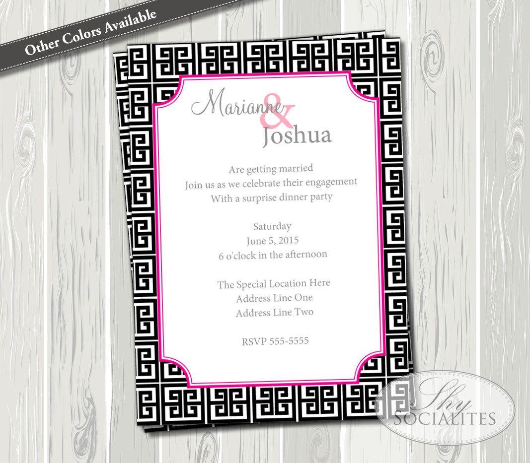 Greek Key Black Pink Invitation