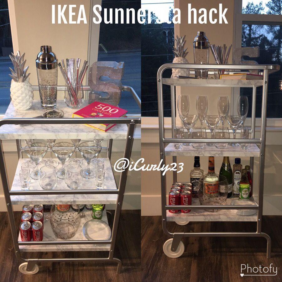 Bar Cart. DIY. IKEA Sunnersta hack. Silver. | home | Pinterest ...