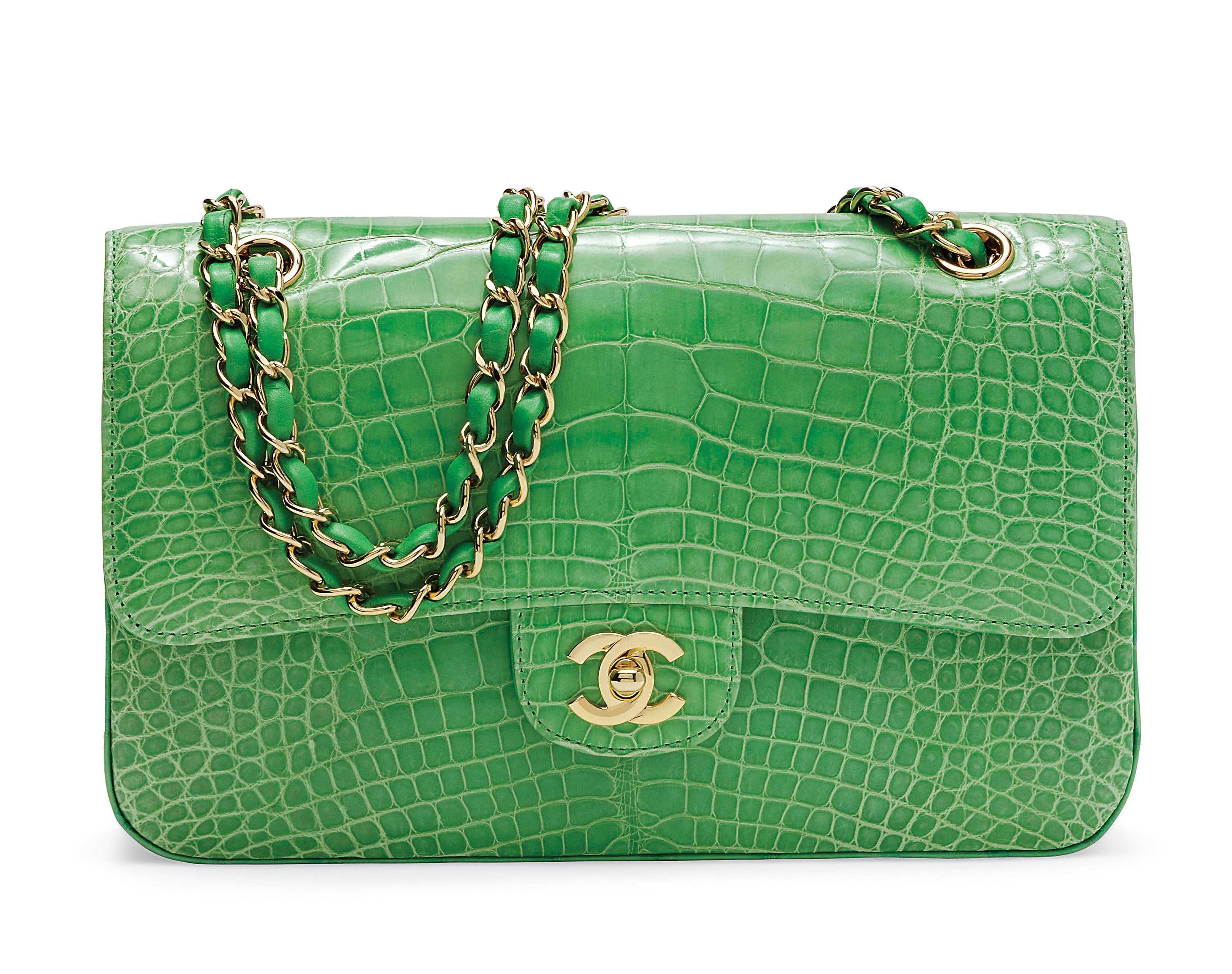 11bb6335c138 A LIME GREEN CROCODILE CLASSIC DOUBLE FLAP BAG Christie s Luxury Handbags  and Accessories