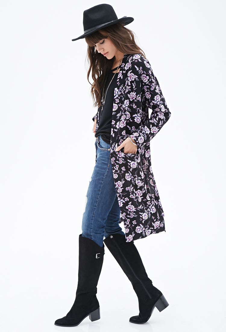 Kimono, meet duster. Floral Longline Duster by Forever 21