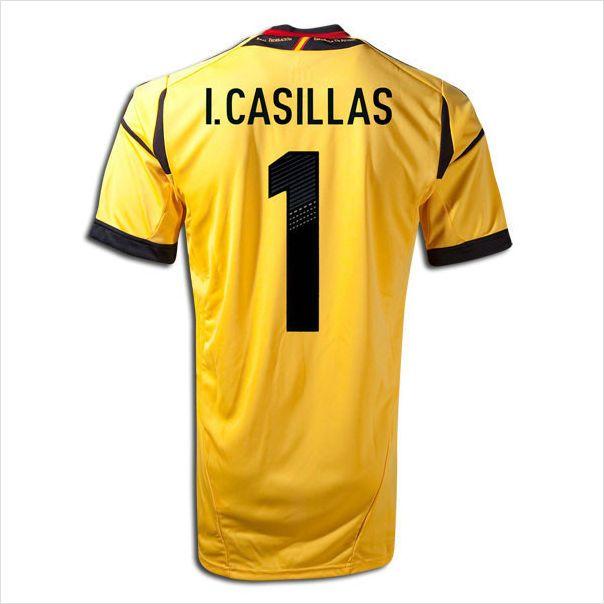 kids 2012 13 spain iker casillas 1 goalkeeper yellow home jersey shorts set on