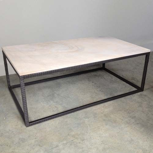 limestone top coffee table with modern hammered iron base. this is