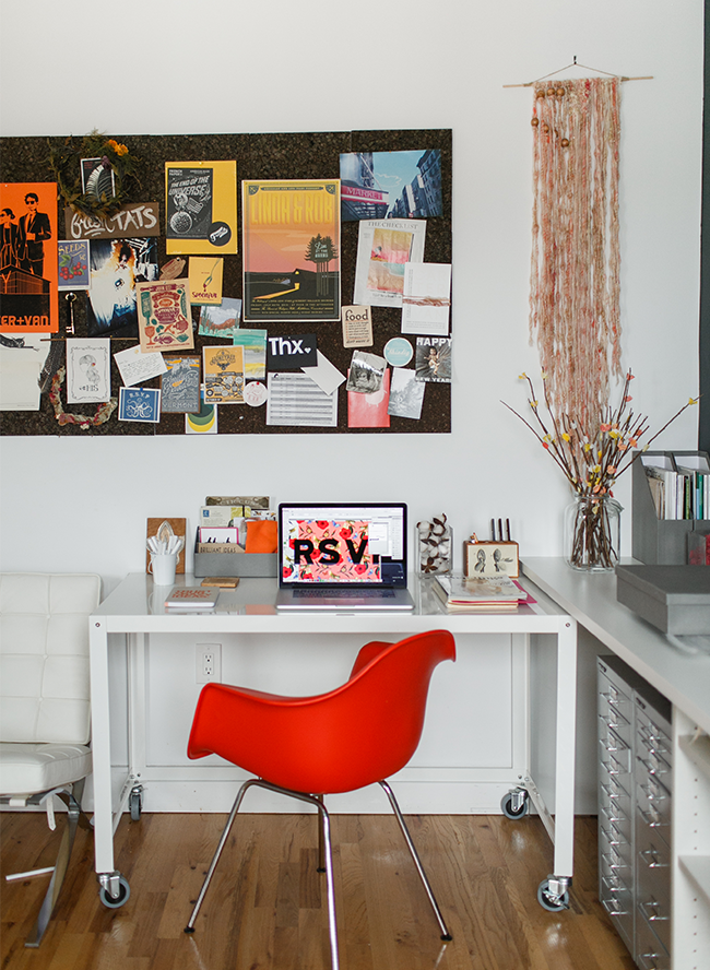 Shindig Bespoke Stationery Studio Tour - Inspired by This - Love that this iconic white chair is red instead!! Office ideas and inspiration!