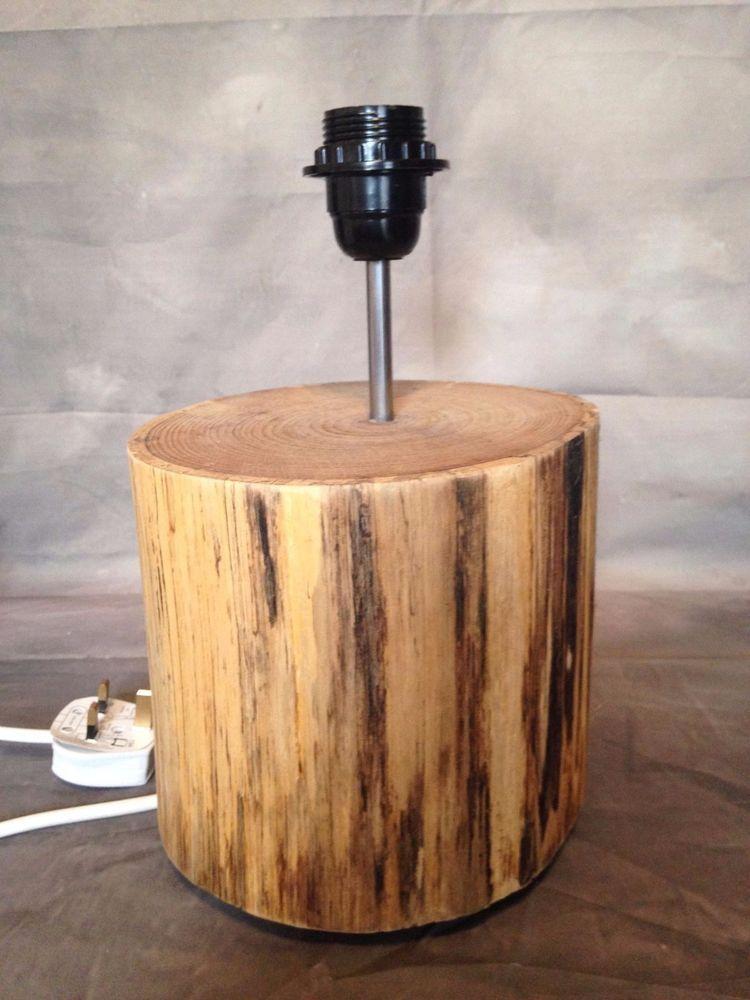 tree log wooden lamp unique lighting handmade in Home Furniture