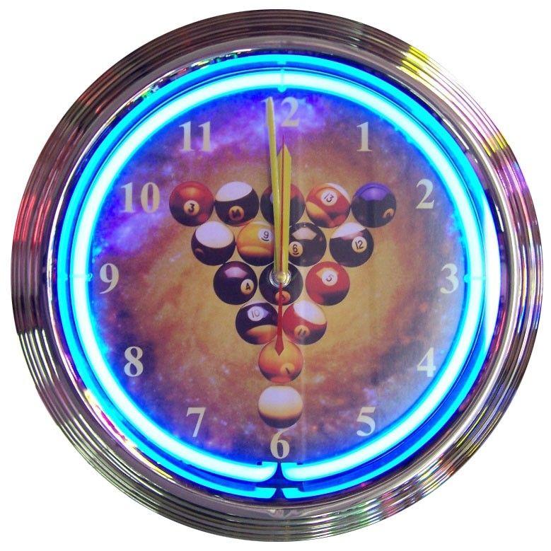 Rack Em Billiard Ball Pool Table Light: Rack 'em Up With This Billiards Space Balls Neon Clock