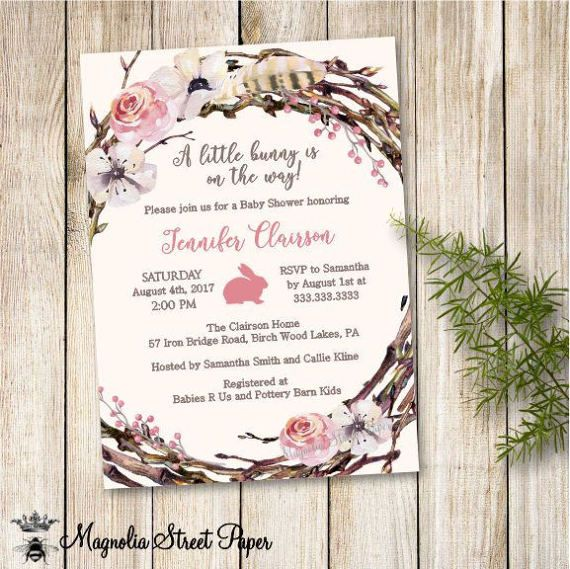 Bunny baby shower invitation baby girl forest baby showers bunny baby shower invitation boho floral baby shower invite baby girl baby shower invitation filmwisefo Images