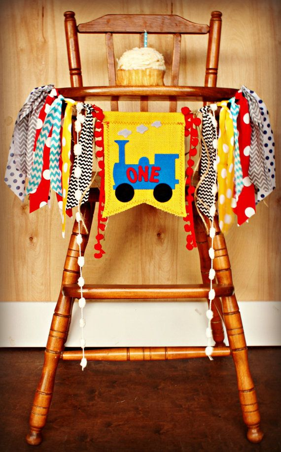 Thomas The Train Birthday Age HIGH CHAIR By RawEdgeSewingCo, $24.95