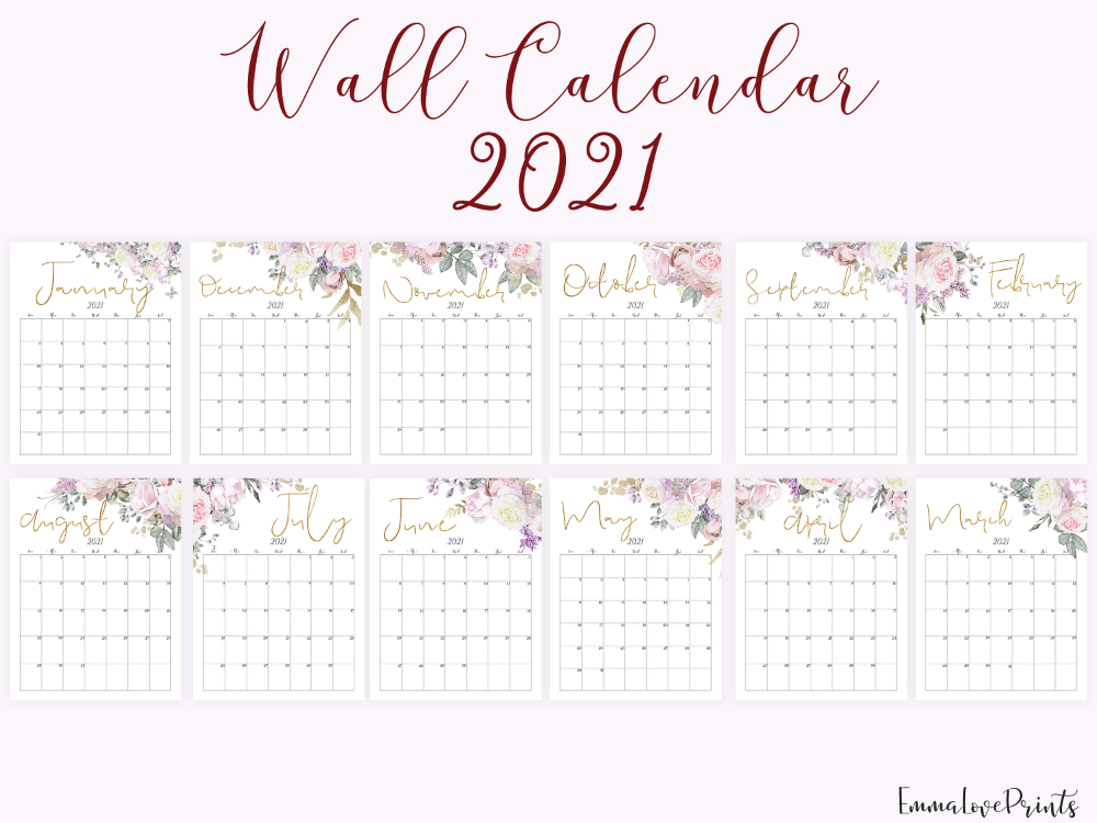 2021 Calendar, Printable Calendar, Botanical Calendar RG-1 ...
