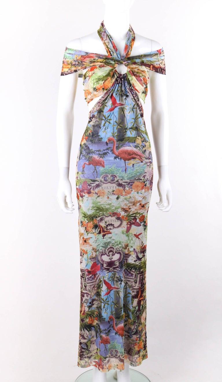 Jean Paul Gaultier Soleil C 1990s Tropical Flamingo Print Mesh Halter Maxi Dress At 1stdibs Halter Maxi Dresses Maxi Dress Fashion