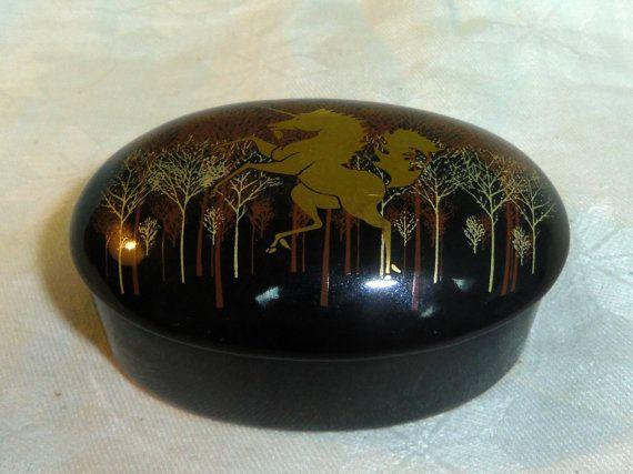Otagiri Japan Trinket Box Black with Gold by Lynnestreasures