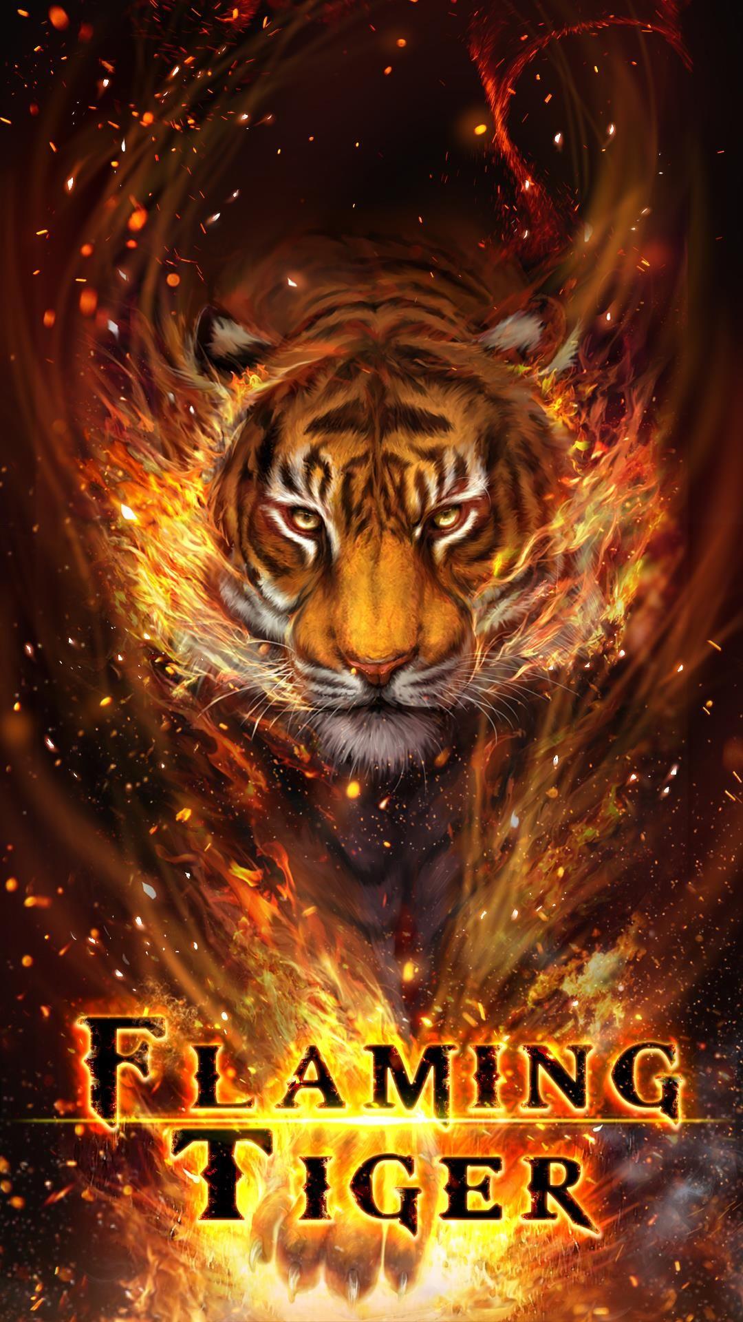 Cool fire tiger, flame tiger, flaming tiger live wallpaper