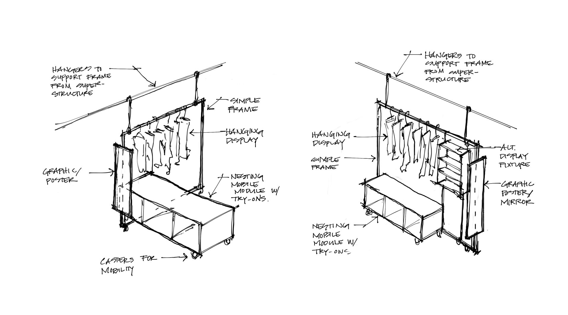Fixture design concept sketch for a retail concept in Los