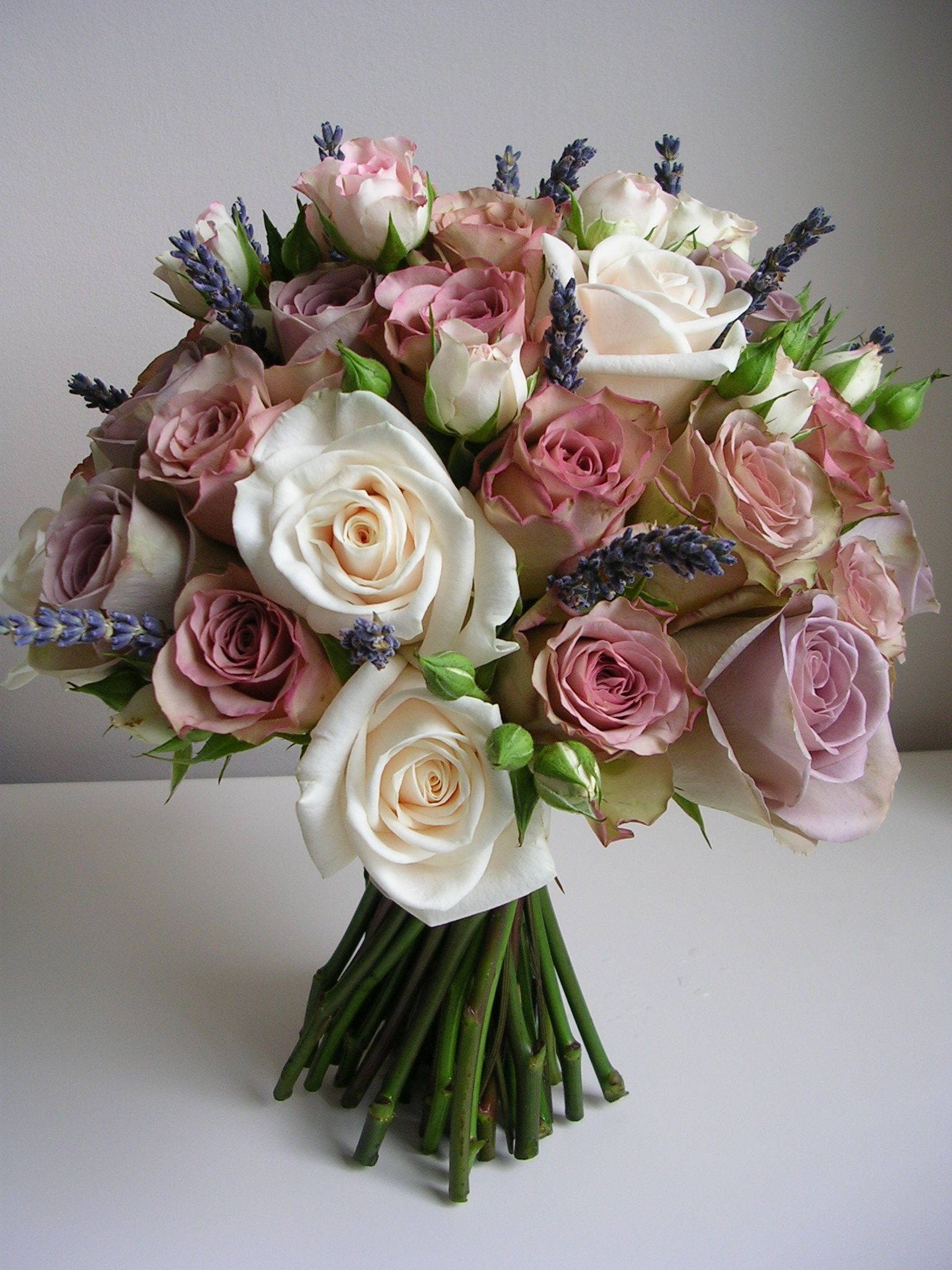 Vinatge Look Handtie Of Dusky Pink Lilac Roses With Cream And Lavander Amnesia