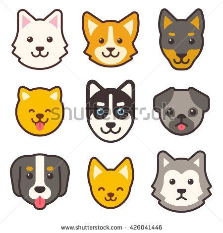 Cartoon Dog Faces Set Different Breeds Of Dogs Husky Corgi Pug