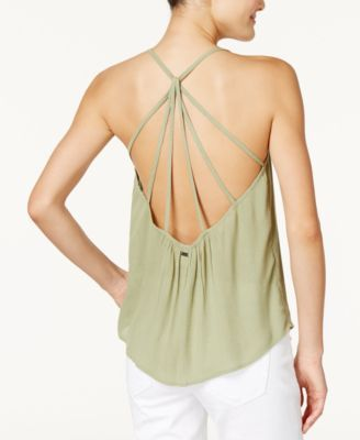 38670641d Roxy Juniors' Fly With Me Strappy Crisscross Tank Top - Green XL ...