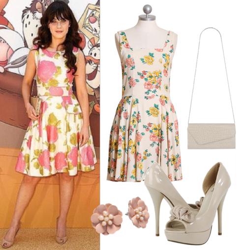 Zooey Deschanel in a floral dress