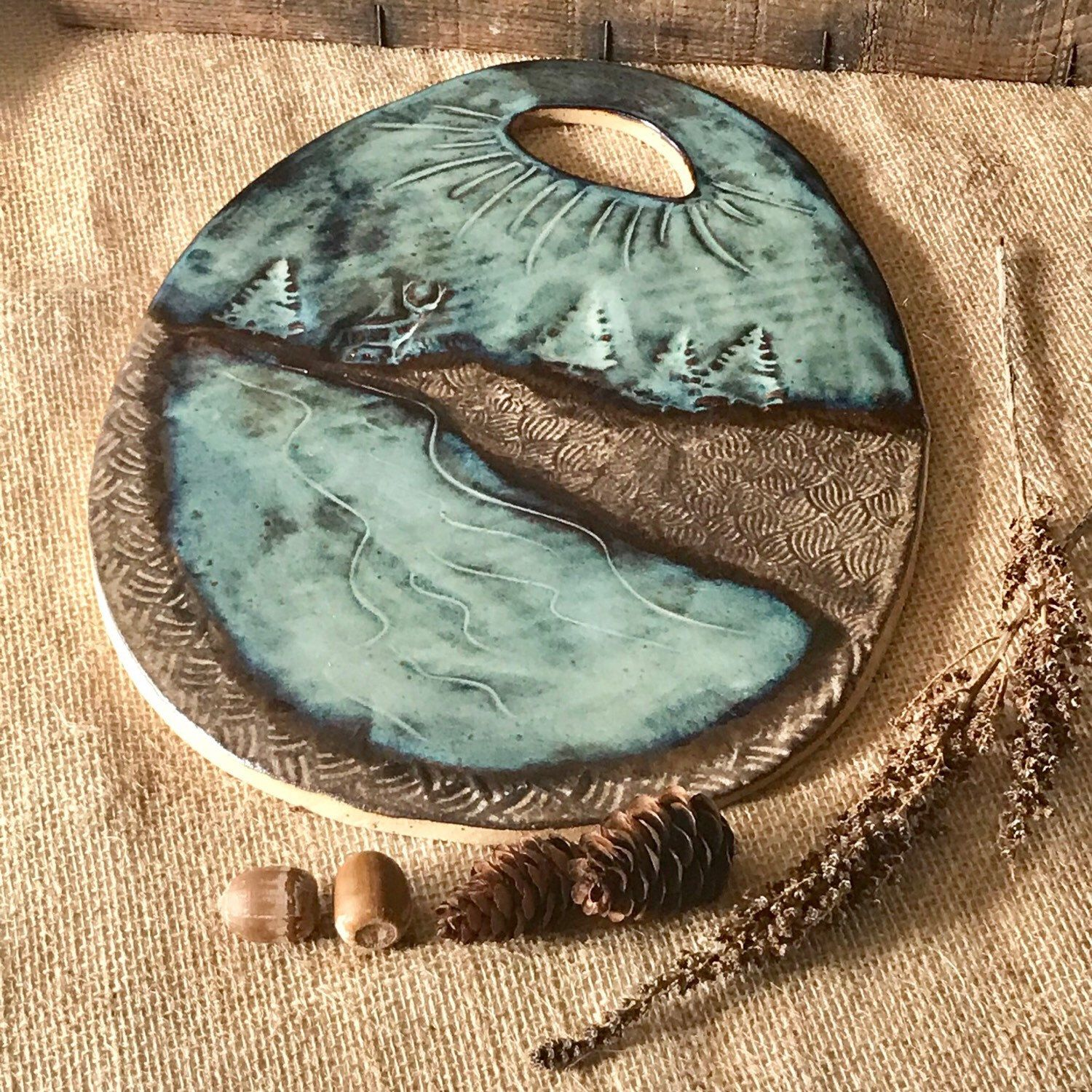 MADE TO ORDER ~ Rustic Cheese Board/Cutting Board ~ Wild Buck Deer ~ Southwestern Native American ~ Brown & Blue ~ Vermont Handmade Pottery