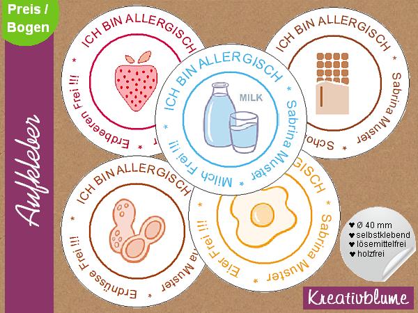 Aufkleber Etiketten Allergie Aufkleber I Allergiker Aufkleber Set Ein Designerstuck Von Kreativblume Bei Dawanda Aufkleber Etiketten Vorlagen Etiketten