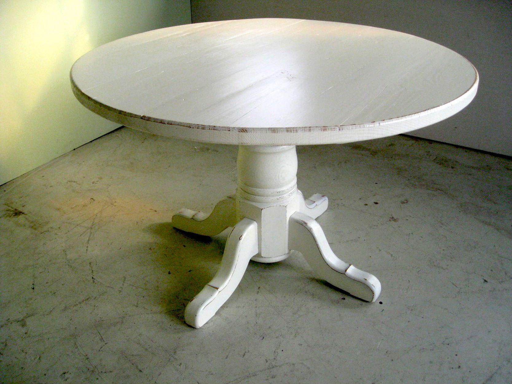 Distressed Round Farm Table In White Round Kitchen Table White