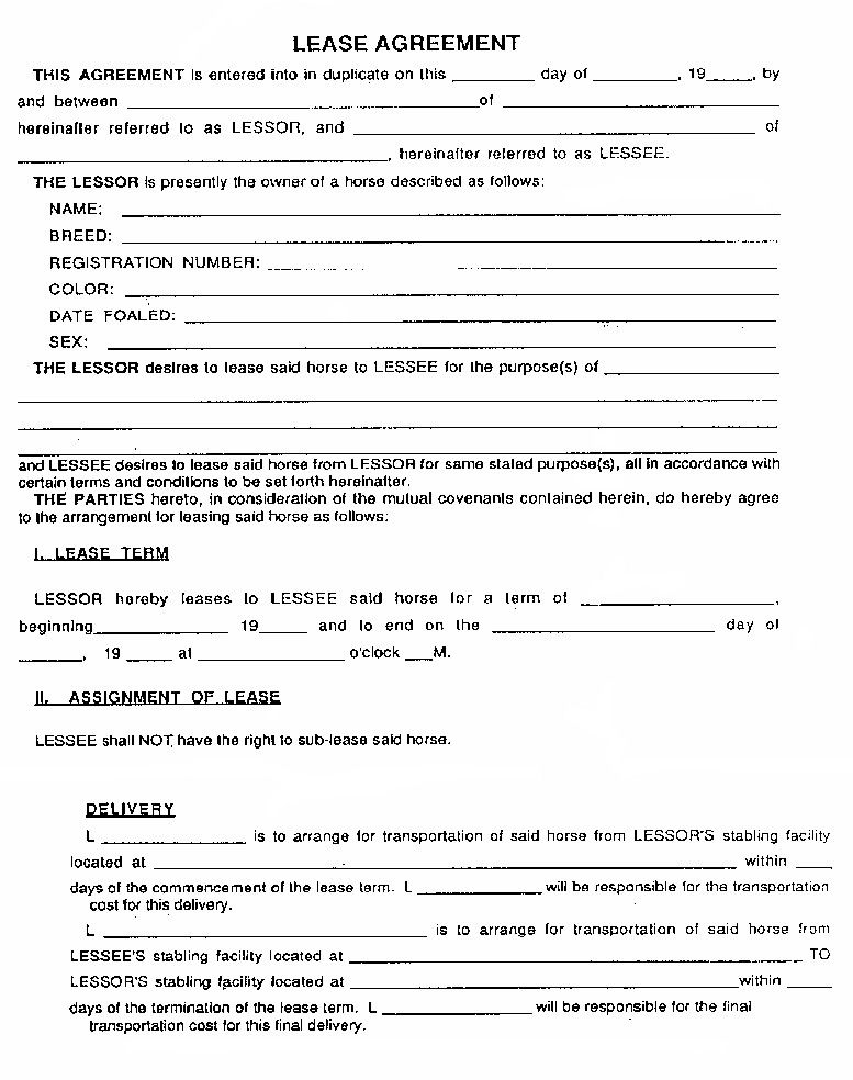 Doc Template For Lease Agreement  Printable Sample Rental