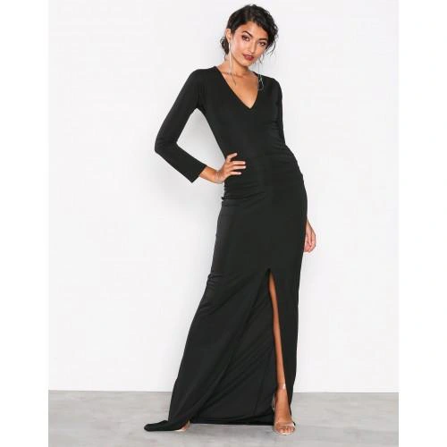 M2c204 Sukienka Czarna Maxi Z Rozcieciem S F01 Dresses Fashion Maxi Dress