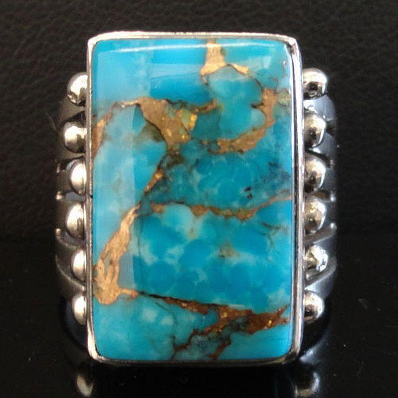 Native American Navajo Sterling Silver KINGMAN GOLD