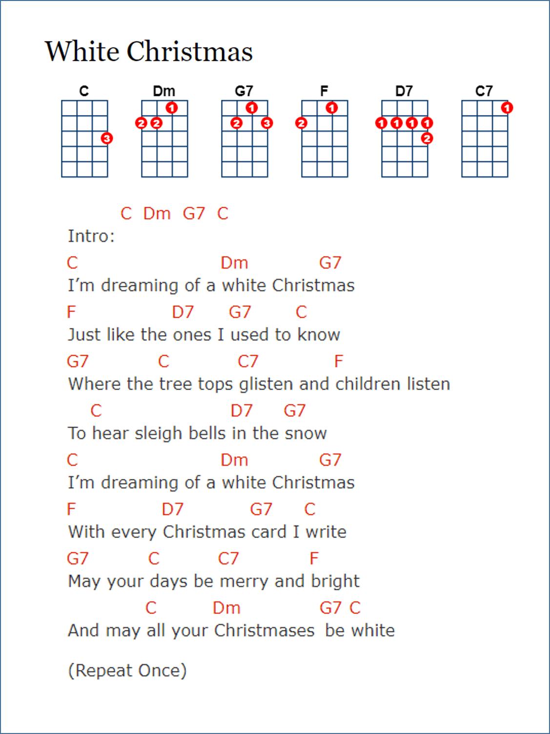 Lyrics and chords, Ukulele, Ukulele songs