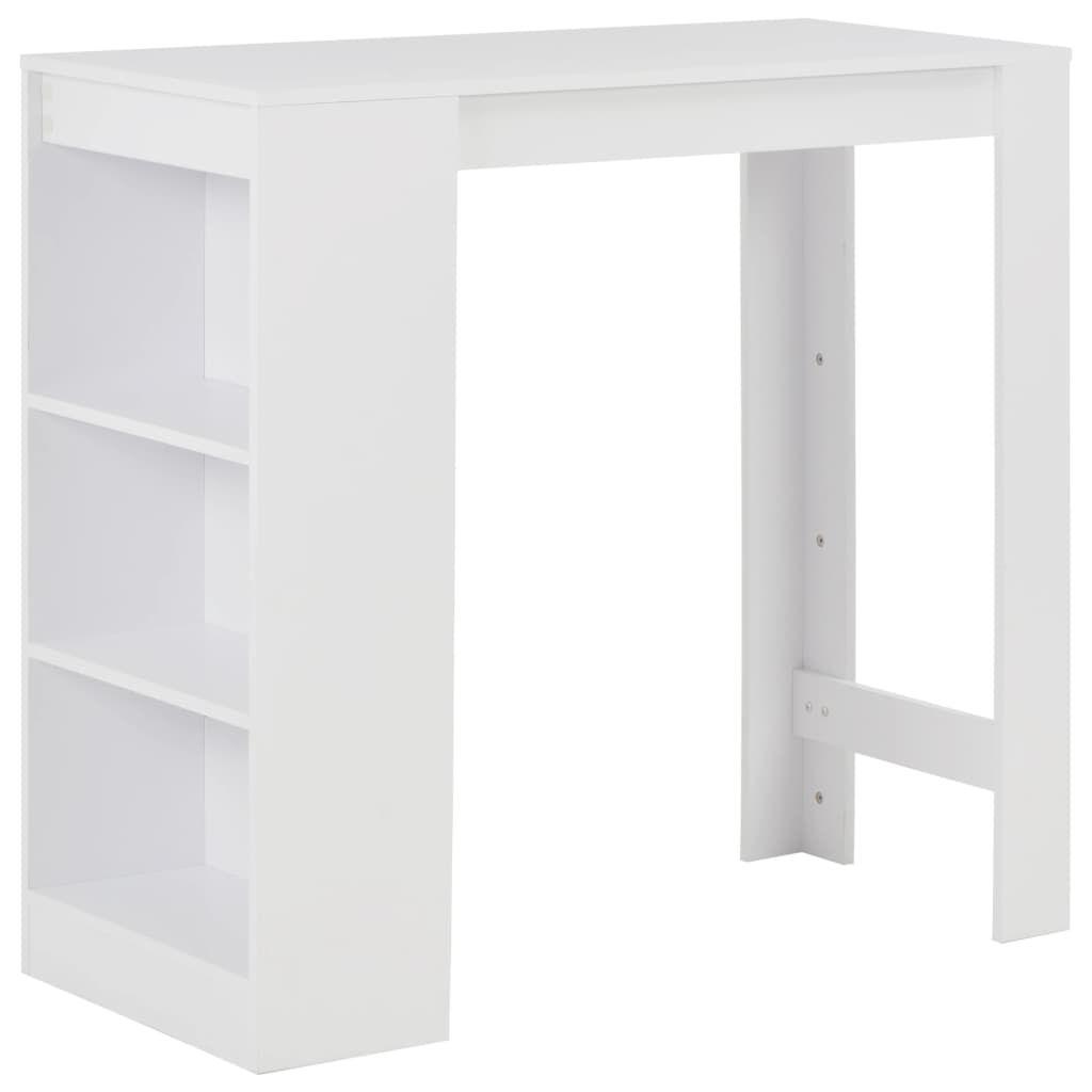 Photo of vidaXL Bar Table with Shelf White 43.31″x19.69″x40.55″