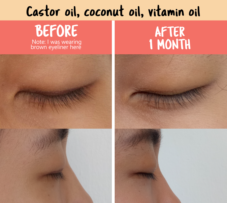 We Did A 1 Month Experiment On Increasing The Length And Volume Of Our Eyelashes These Are Th Coconut Oil Eyelashes Oil For Eyelash Growth Castor Oil Eyebrows
