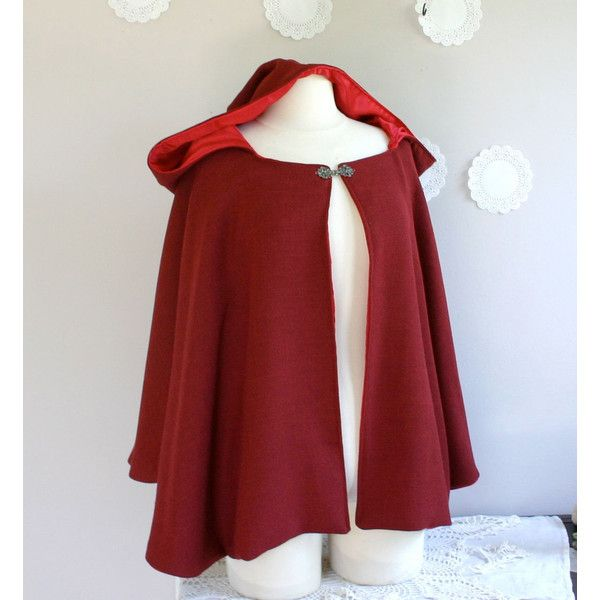 Red Riding Hood Cape for Adults Hooded Cloak in Red Wool or Velvet ($159) ❤ liked on Polyvore featuring outerwear, jackets, cloak, coats, tops, red cloak, velvet hooded cloak, hooded cloak, cape coat and red cape coat