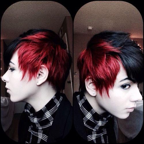 Short Black And Blonde Hair Recherche Google Short Red Hair Short Hair Styles Hair Color For Black Hair