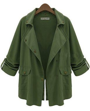 Green Notch Lapel Long Sleeve Pockets Coat 32.18