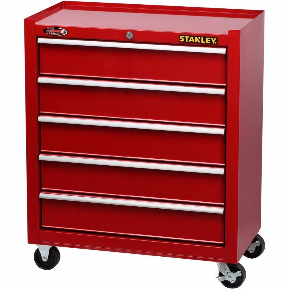 New Stanley 5 Drawer Rolling Tool Storage Organizer Metal Chest Garage Workshop Stanley Red Cabinets Tool Storage Drawers