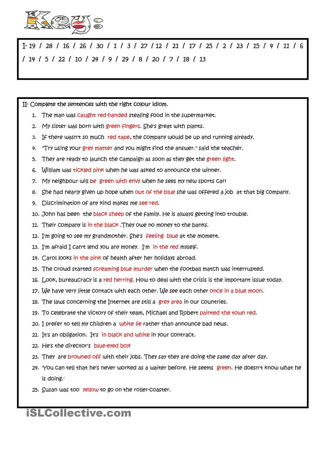 hight resolution of Colour Idioms   Idioms