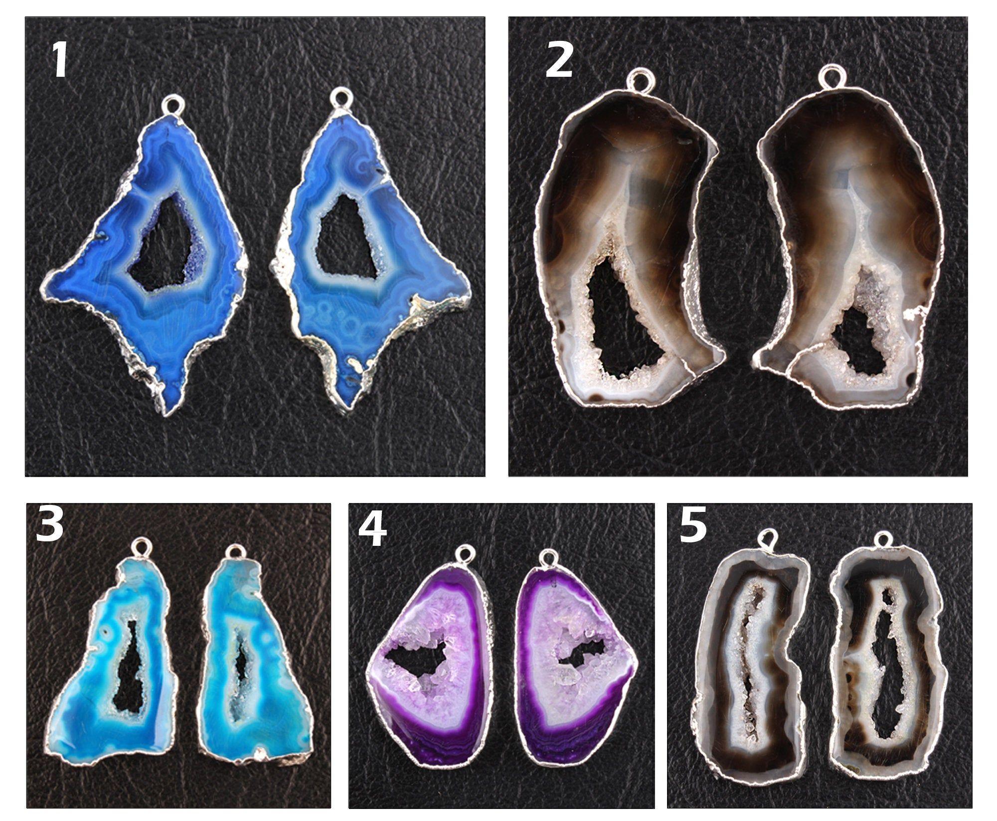 Natural Sky Blue Geode Druzy Geode Slice Silver Plated DIY Necklace Connectors