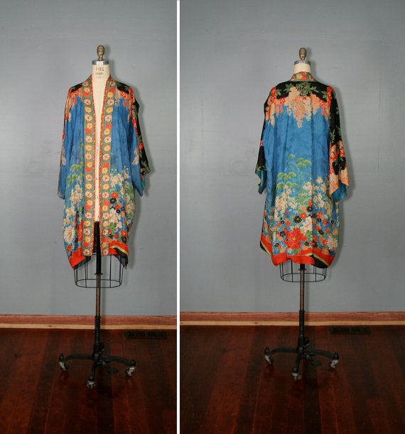 Antique Dressing Gown: Vintage . Silk . Kimono . MORNING SONG . Floral . Art