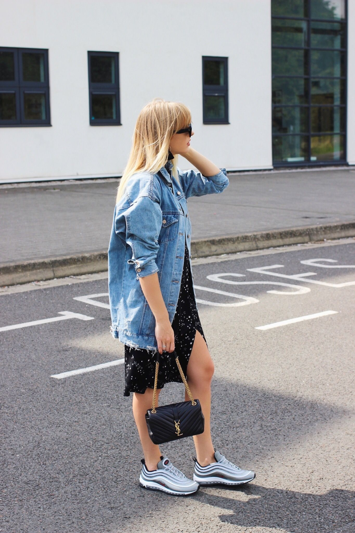 How to style trainers with a dress and oversize denim jacket on fashion  blogger charlotte buttrick 337d03b2540