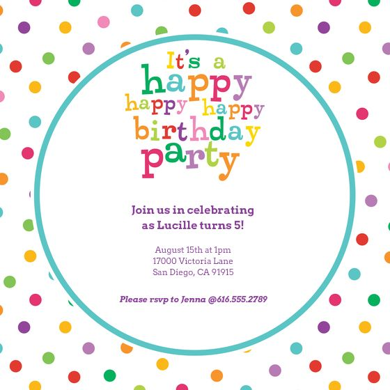 I just love this happy birthday invite! Dotty Birthday designed by A - fresh birthday party invitation designs