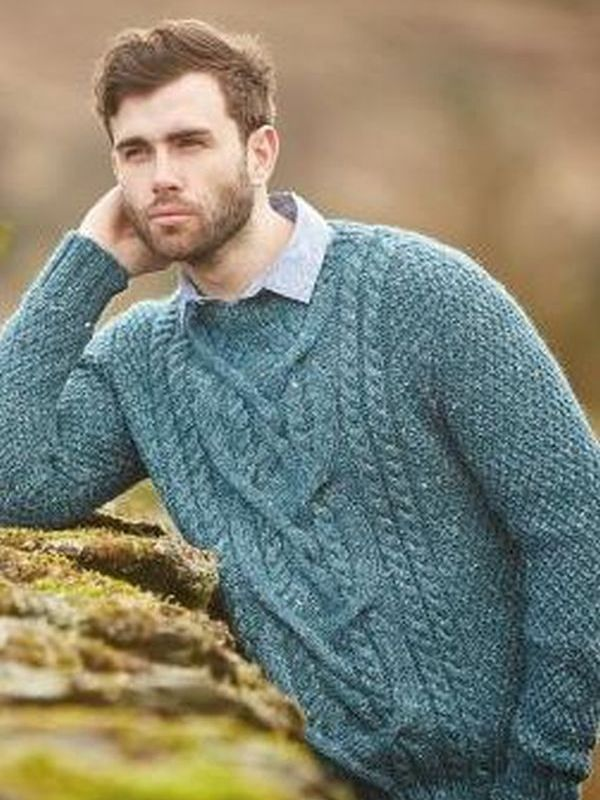 Free men\'s cabled aran sweater knitting pattern at Laughing Hens ...
